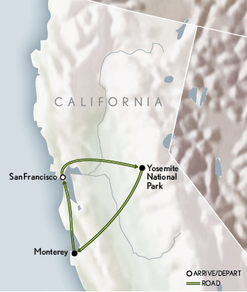 Abercrombie & Kent Northern California Tailor Made Journey map