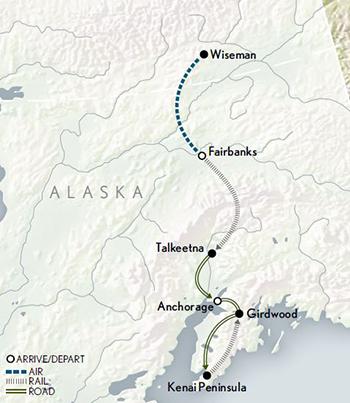 Abercrombie & Kent Alaska Wilderness & Wildlife map