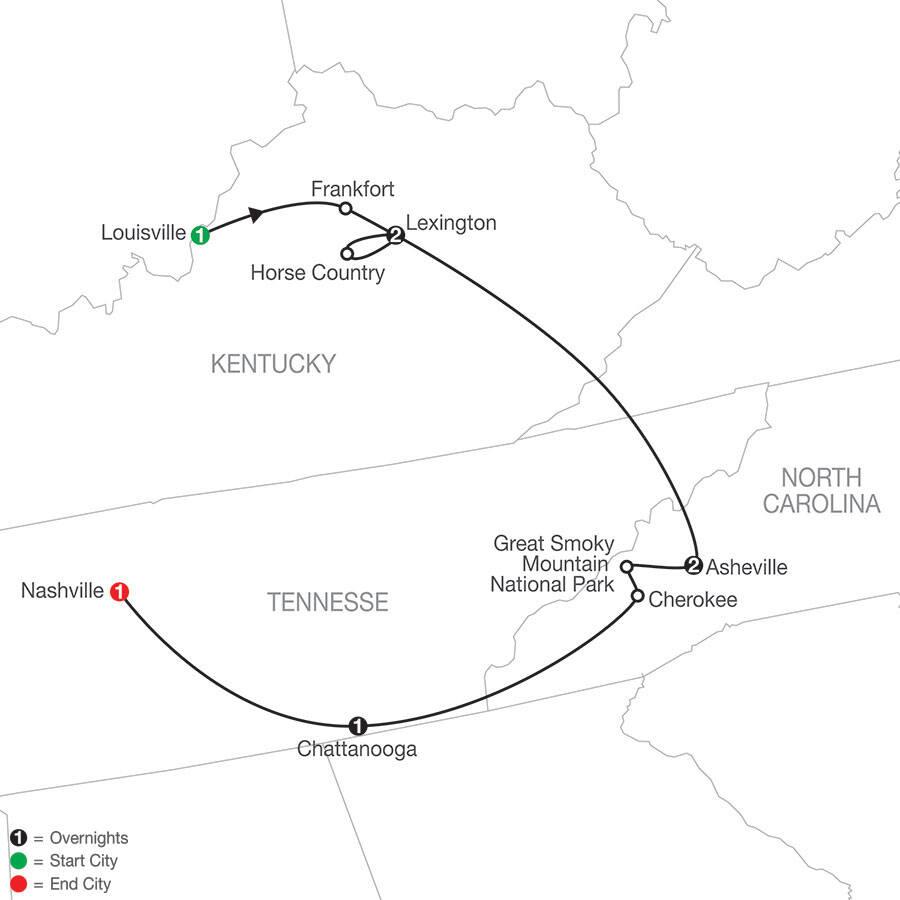 Globus Tours - Bourbon, Bridles & Bluegrass from Louisville to Nashville