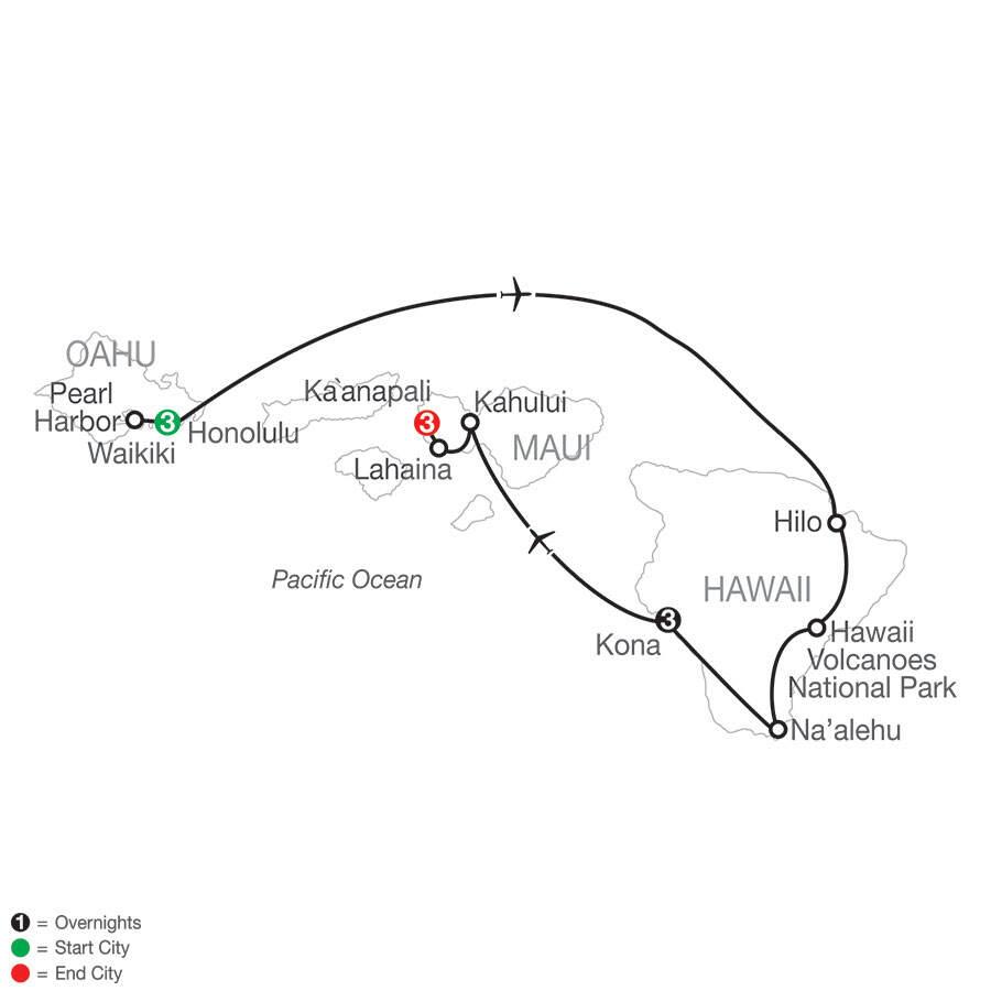 Best of the Hawaiian Islands map, Globus Tours